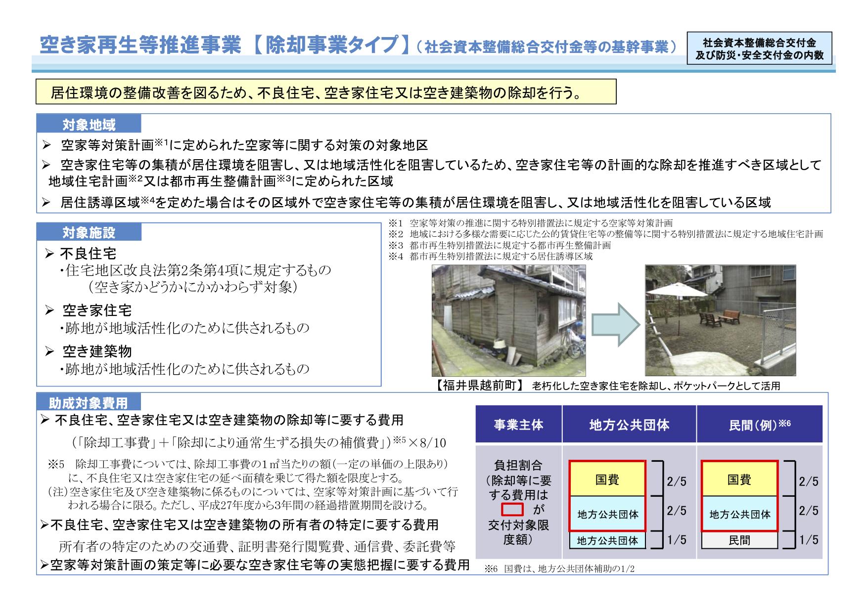 国土交通省「空き家対策等推進事業(除却事業)